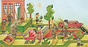 Green Drawings Posters - Lisas Journey08 Poster by Kestutis Kasparavicius