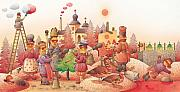 Red Drawings Prints - Lisas Journey10 Print by Kestutis Kasparavicius