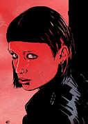 Girl Drawings Posters - Lisbeth Salander Mara Rooney Poster by Giuseppe Cristiano