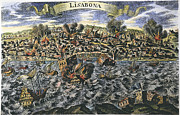 Flood Framed Prints - Lisbon Earthquake, 1755 Framed Print by Granger