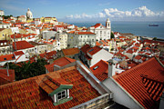 Concrete Framed Prints - Lisbon Rooftops Framed Print by Carlos Caetano