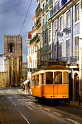 Ancient Framed Prints - Lisbon Tram Framed Print by Carlos Caetano