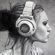 Headphones Framed Prints - Listen Framed Print by Brent Schreiber