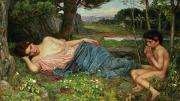 Early Prints - Listen to my Sweet Pipings Print by John William Waterhouse