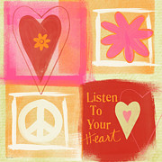Orange Mixed Media Posters - Listen To Your Heart Poster by Linda Woods