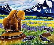 Yellowstone Painting Metal Prints - Listening In Metal Print by Harriet Peck Taylor