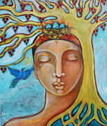 Blue Bird Metal Prints - Listening Metal Print by Shiloh Sophia McCloud