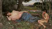 Waterhouse Painting Prints - Listening to my Sweet Pipings Print by John William Waterhouse