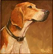 Foxhound Framed Prints - Listening to the Master Framed Print by Elaine Hurst