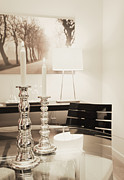 Glass Table Reflection Posters - Lit Candles in Silver Candlesticks Poster by Andersen Ross