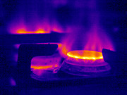 Thermograph Framed Prints - Lit Gas Ring, Thermogram Framed Print by Tony Mcconnell