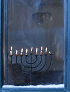 Candelabrum Framed Prints - Lit Menorah on Windowsill Framed Print by Noam Armonn