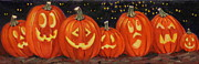 Pumpkins Paintings - Lit Up by Linda Eades Blackburn