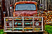 Vintage Truck Photos - Lit Up by Toni Hopper