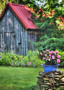 Red Roof Prints - Litchfield Hills Summer Scene Print by Thomas Schoeller