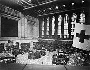 Stock Markets Posters - Littered Floor Of New York Stock Poster by Everett