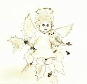 Angel Drawings - Little Angel by Sonya Chalmers