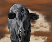 Black Angus Framed Prints - Little Angus Framed Print by Marie Wagner