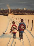Hockey Player Paintings - Little Avs by Ron  Genest