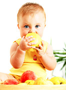 Biting Posters - Little baby eating apple Poster by Anna Omelchenko