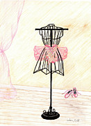 Little Girls Mixed Media Originals - Little Ballerina-1 by Linda Ginn
