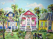 Doralynn Lowe Prints - Little Beach Houses Print by Doralynn Lowe