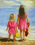Sisters Painting Framed Prints - Little Beachcombers Framed Print by Joni McPherson