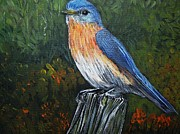 Little Birds Paintings - Little Blue Bird by Reb Frost