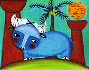 Portait Mixed Media - Little Blue Carabao by Jennifer R S Andrade