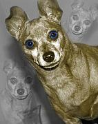 Eyes Mixed Media - Little Blue Eyed Doberman by Tiffany Trammell