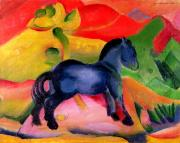 Expressionist Horse Framed Prints - Little Blue Horse Framed Print by Franz Marc