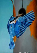 Fineart Pastels Posters - Little Blue Kingfisher Poster by Brian Leverton