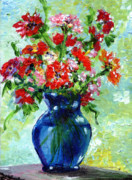 Carnations Paintings - LIttle Blue Vase by Ginette Fine Art LLC Ginette Callaway