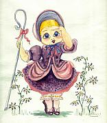 Nursery Rhyme Painting Prints - Little Bo Peep Print by Yvonne Ayoub