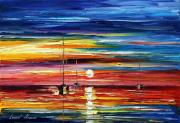 Canal Painting Originals - Little Boat by Leonid Afremov