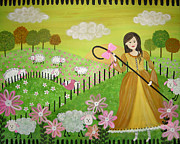 Nursery Rhyme Painting Metal Prints - Little Bow Peep Metal Print by Samantha Shirley