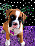 Puppies Digital Art Metal Prints - Little Boxer Butterfly Metal Print by Tisha McGee
