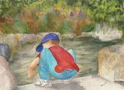 Playing Painting Originals - Little Boy at Japanese Garden by Vicki  Housel