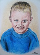 Boy Drawings Posters - Little Boy Commissions Poster by Andrew Read
