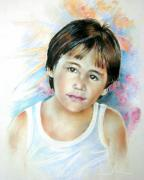 Pastel Portrait Framed Prints - Little Boy from Tahiti Framed Print by Miki De Goodaboom