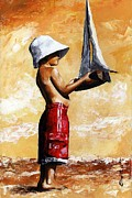 Palette Knife Art Posters - Little boy in the beach Poster by Emerico Toth