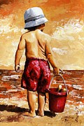 Sun Hat Framed Prints - Little Boy on the Beach II Framed Print by Emerico Imre Toth