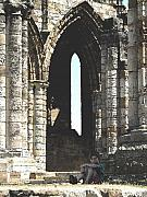 Ruins Mixed Media Posters - Little boy under the arch Poster by Susan Baker
