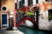 European Union Prints - Little Bridge in Venice Print by George Oze