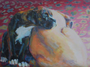Boxer Dog Art Paintings - Little Brother by Kimberly Santini