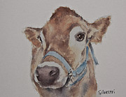 Nursery Room Art Prints Paintings - Little Brown Cow by Teresa Silvestri