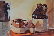 Jugs Painting Prints - Little Brown Jugs Print by Len Stomski