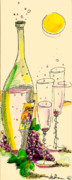 Champagne Glasses Mixed Media - Little Bubbly Card by Studio De Shan