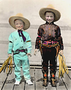 Cowboys Mixed Media - Little Buckaroos by JDon Cook