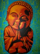 Religious Artwork Painting Originals - Little Buddha by Ashley Price